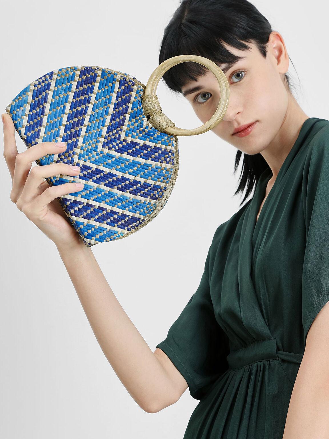 The Purpose Collection - Handwoven Circle Handle Banig Bag, Dark Blue, hi-res