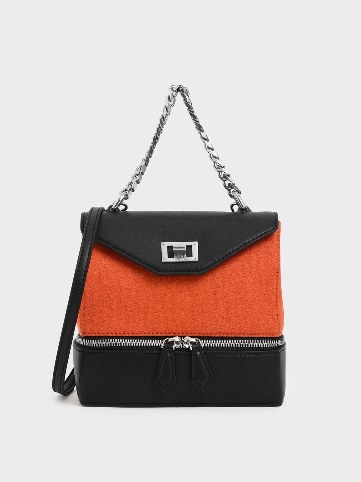 Two-Way Zip Chain Handle Bag, Orange, hi-res