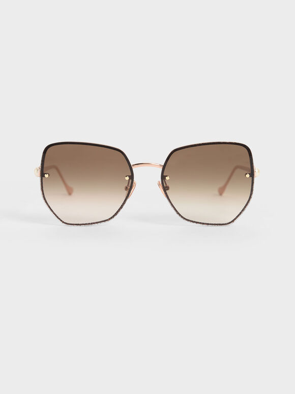 Embellished Tinted Butterfly Sunglasses, Rose Gold, hi-res
