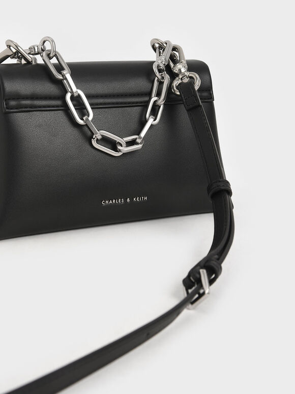 Geometric Chain Handle Bag, Black, hi-res