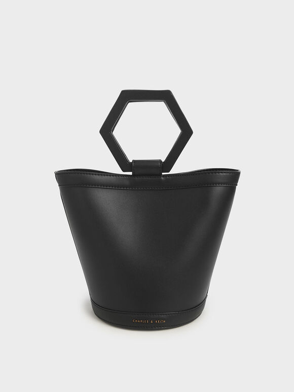 Geometric Handle Bucket Bag, Black, hi-res