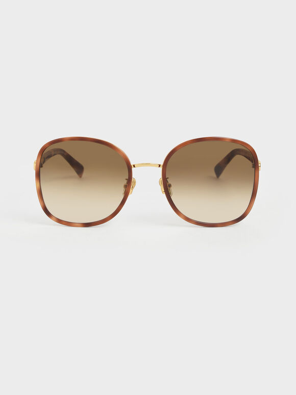 Braided Temple Tortoiseshell Butterfly Sunglasses, T. Shell, hi-res