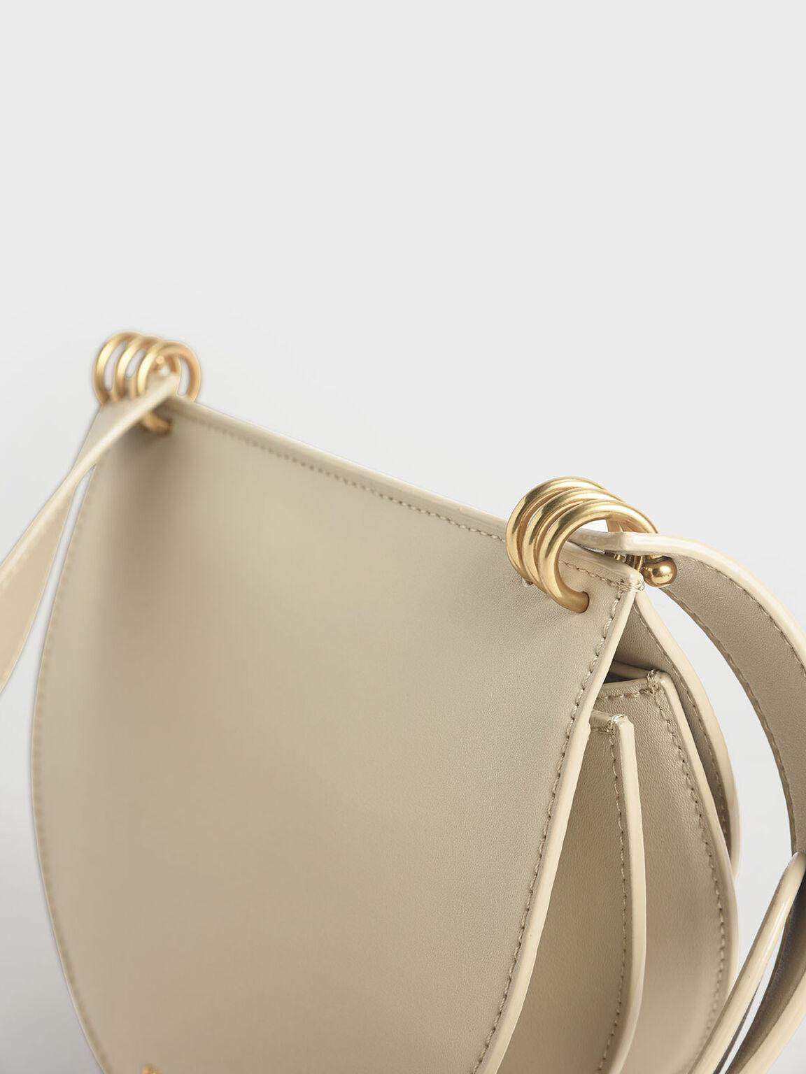 Ring Push-Lock Saddle Bag, Ivory, hi-res