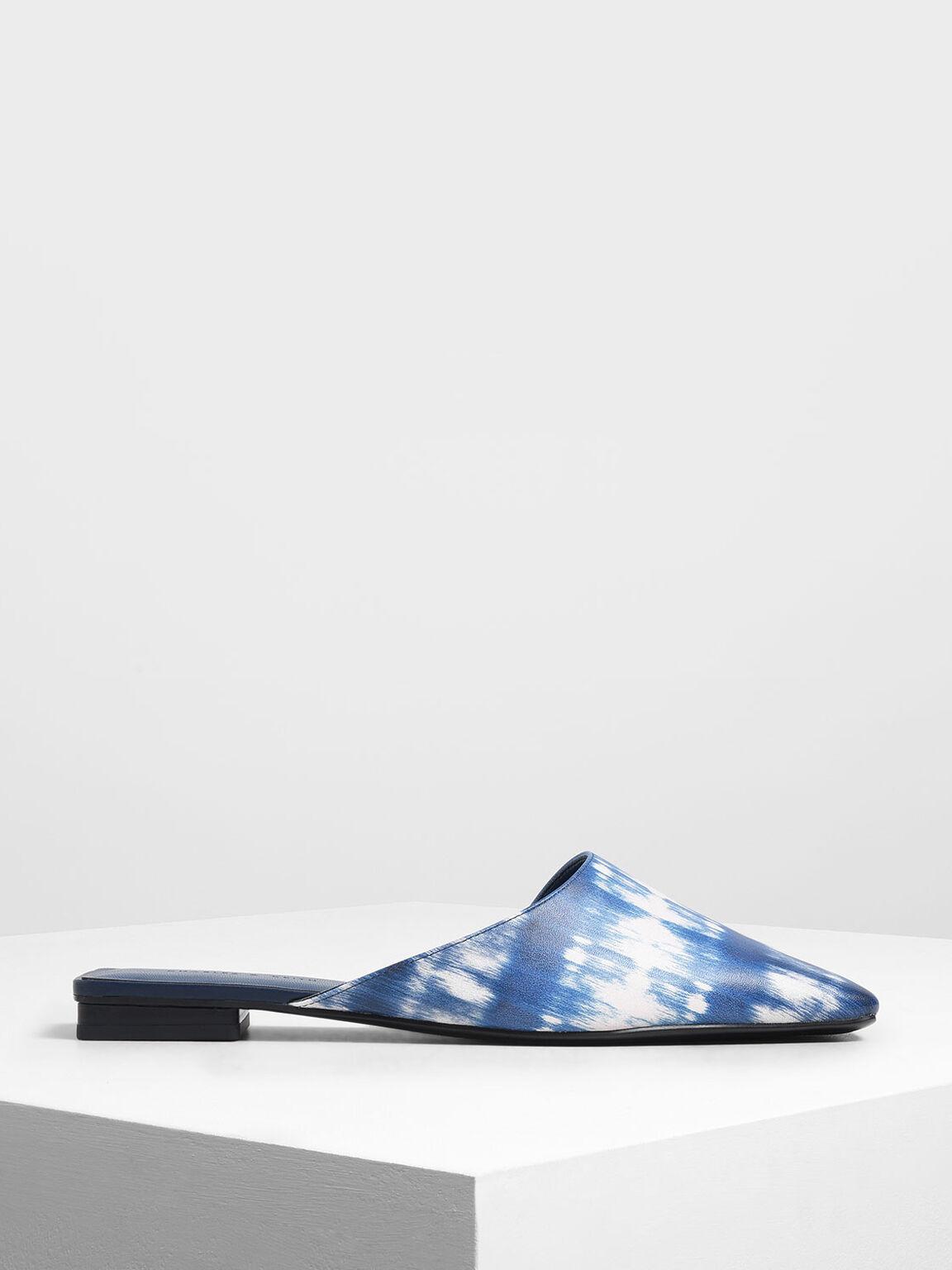 Printed Square Toe Asymmetrical Mules, Dark Blue, hi-res