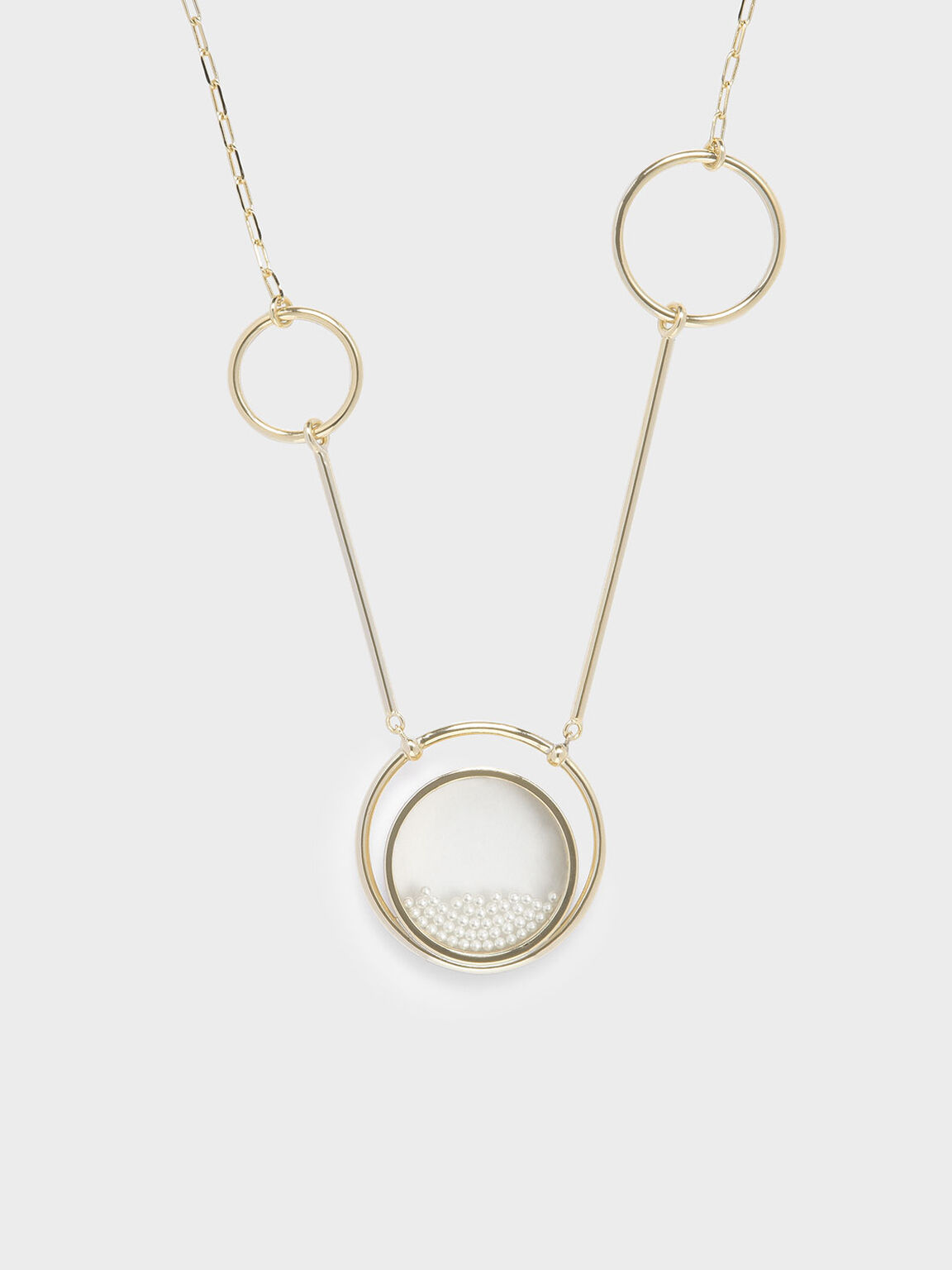 Pearl Finish Stone Ring Detail Floating Locket Matinee Necklace, Pearl, hi-res