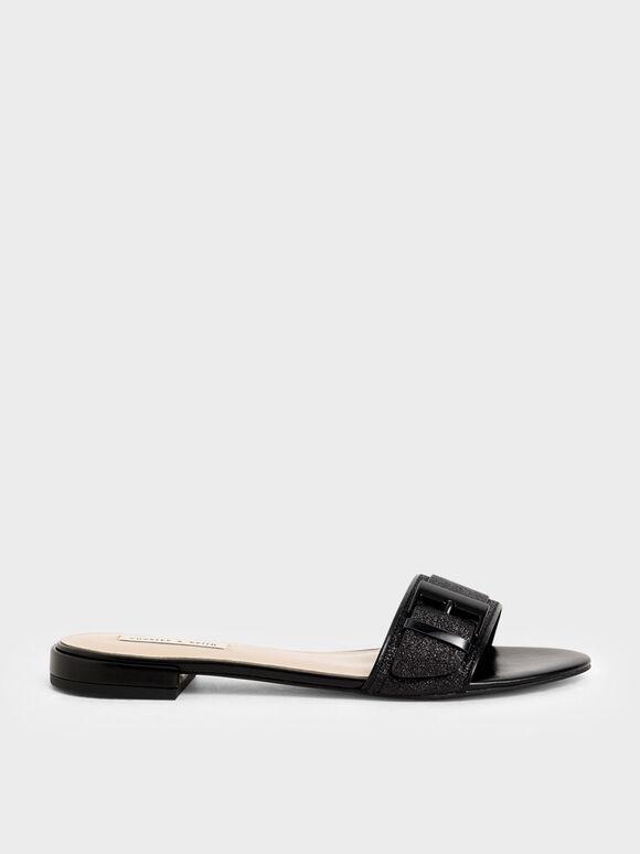 Buckle Strap Glitter Slide Sandals, Black, hi-res