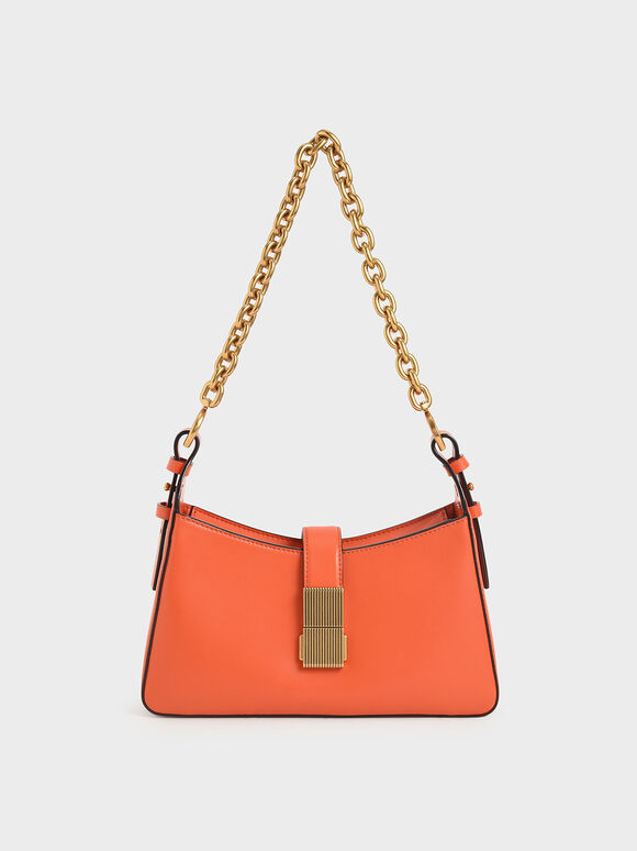 Chain Handle Shoulder Bag, Orange, hi-res