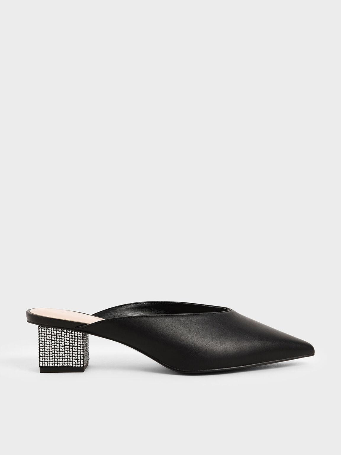 Embellished Block Heel Mules, Black, hi-res