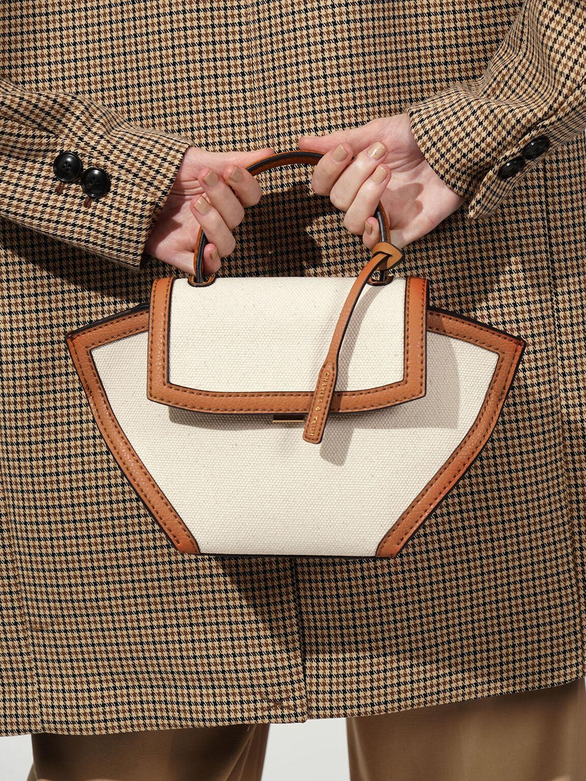Canvas Trapeze Top Handle Bag, Cognac, hi-res