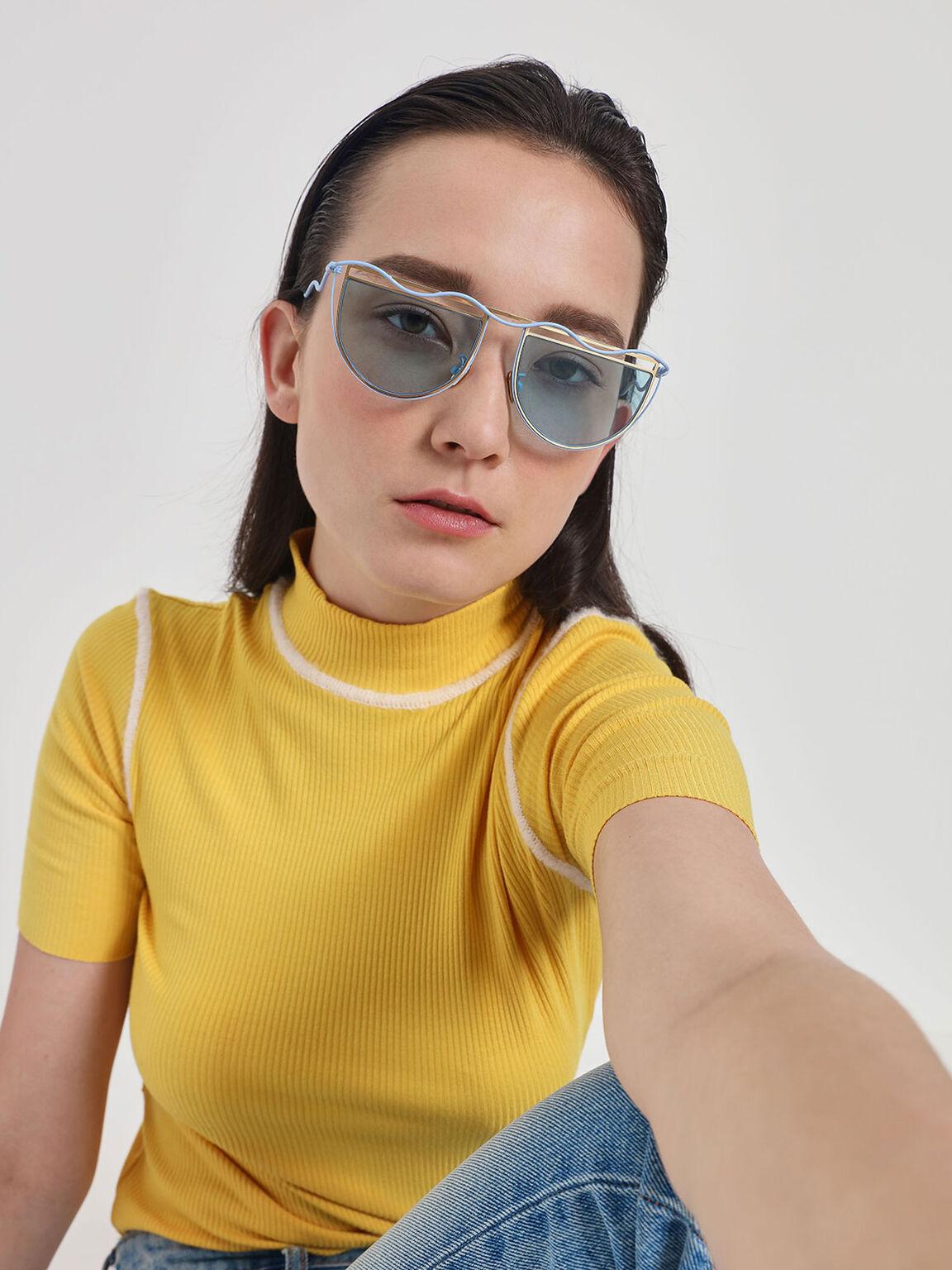 Drop Temple Semi-Circle Sunglasses, Blue, hi-res