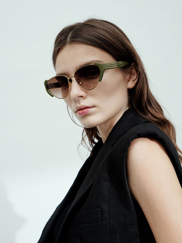 Acetate Striped Cat-Eye Sunglasses, Olive, hi-res