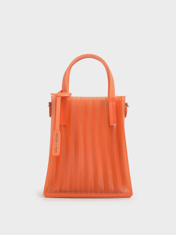 Translucent Pleated Tote Bag, Orange, hi-res