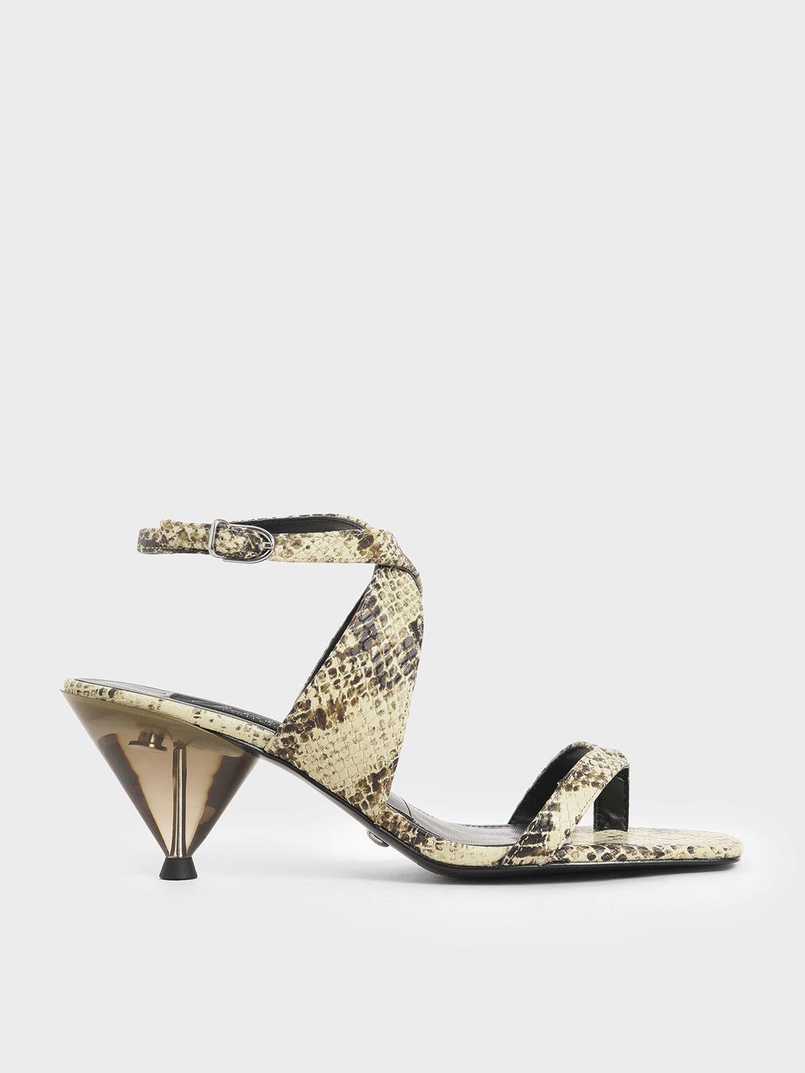 Leather Snake Print Cone Heel Sandals, Multi, hi-res