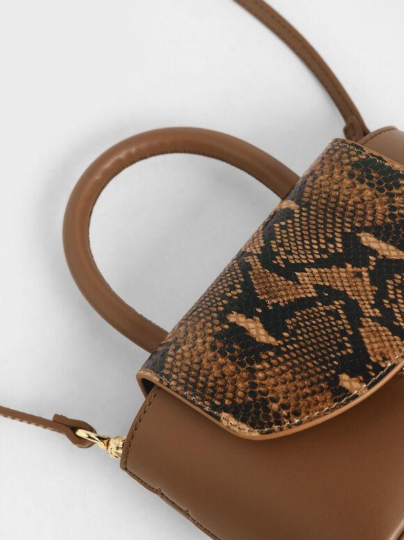 Snake Print Leather Cylinder Bag, Brown, hi-res
