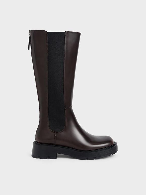 Zip-Up Chelsea Knee Boots, Dark Brown, hi-res