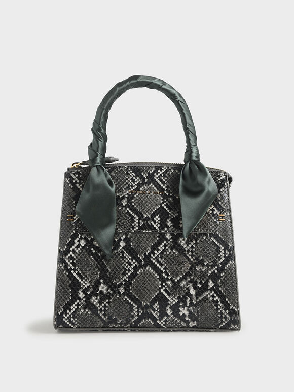 Snake Print Satin Scarf Handle Bag, Grey, hi-res