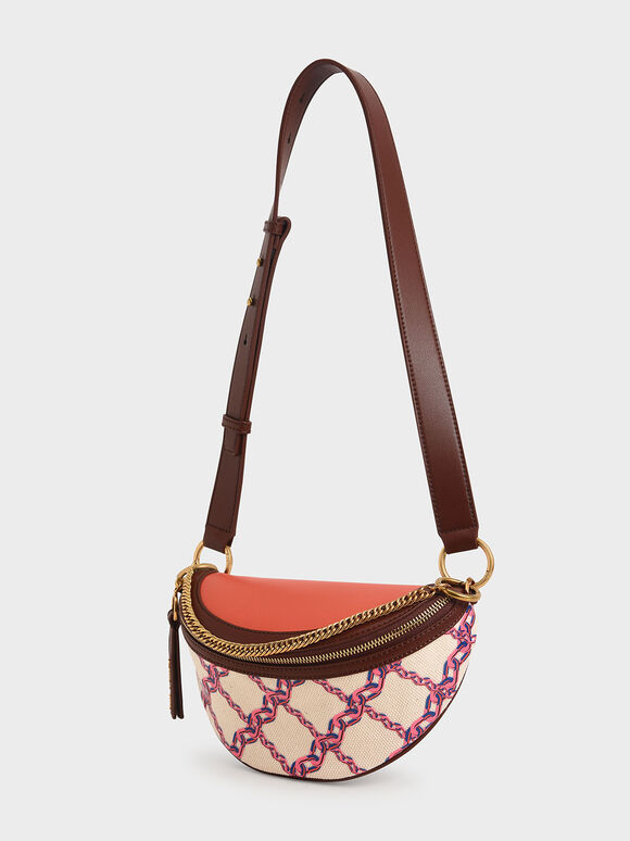 Half-Moon Canvas Crossbody Bag, Multi, hi-res