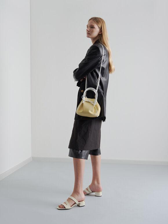 Two-Tone Drawstring Top Handle Bag, Yellow, hi-res