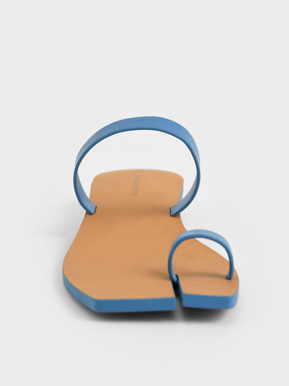 Toe Ring Flat Sandals, Blue, hi-res