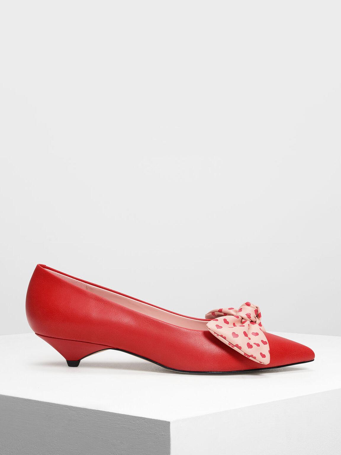 Printed Bow Kitten Heels, Red, hi-res