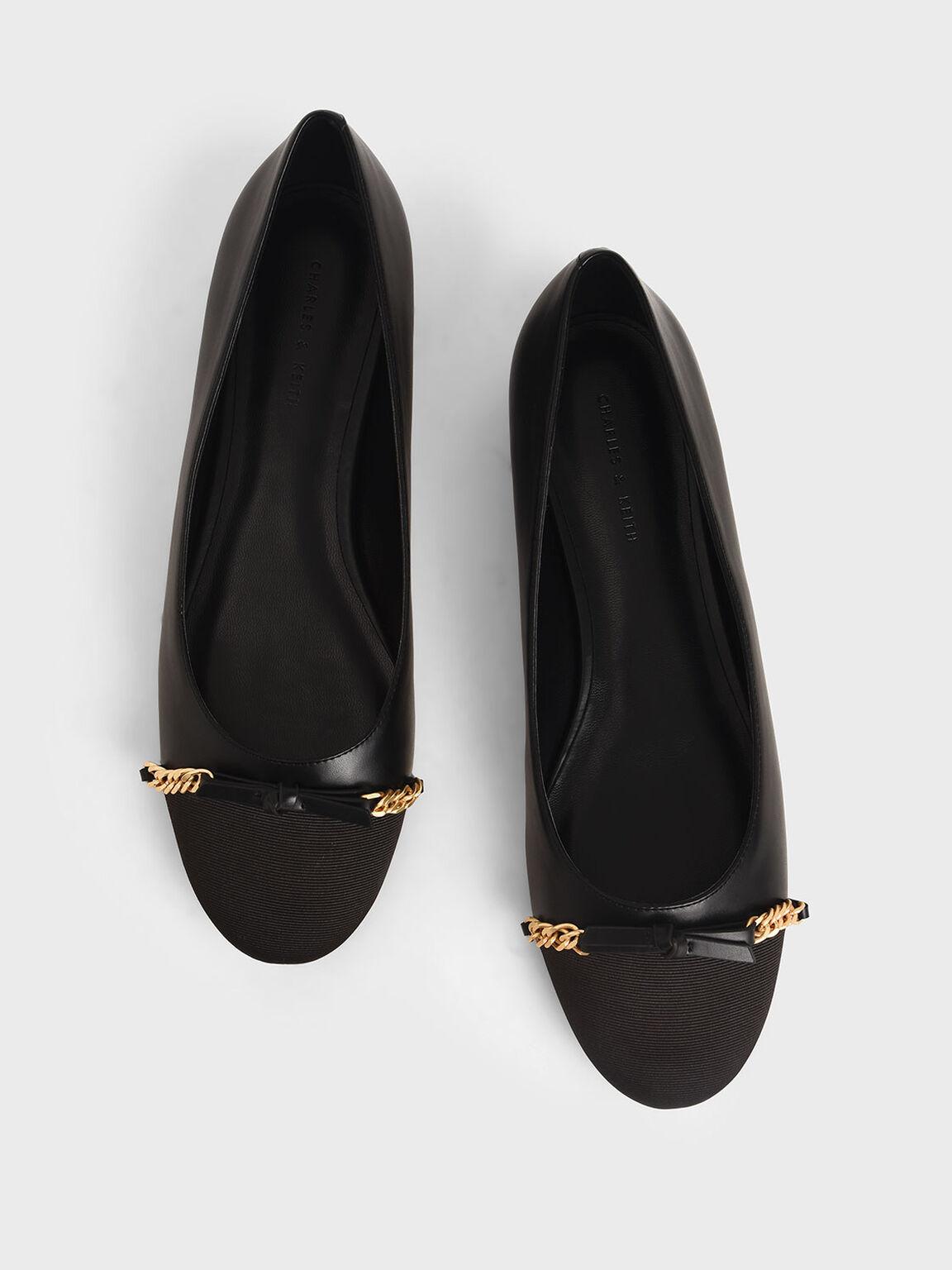 Grosgrain Chain-Link Ballerina Flats, Black, hi-res