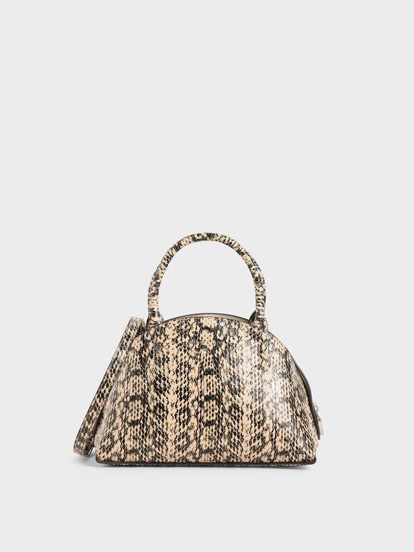 Snake Print Top Handle Dome Bag, Beige, hi-res