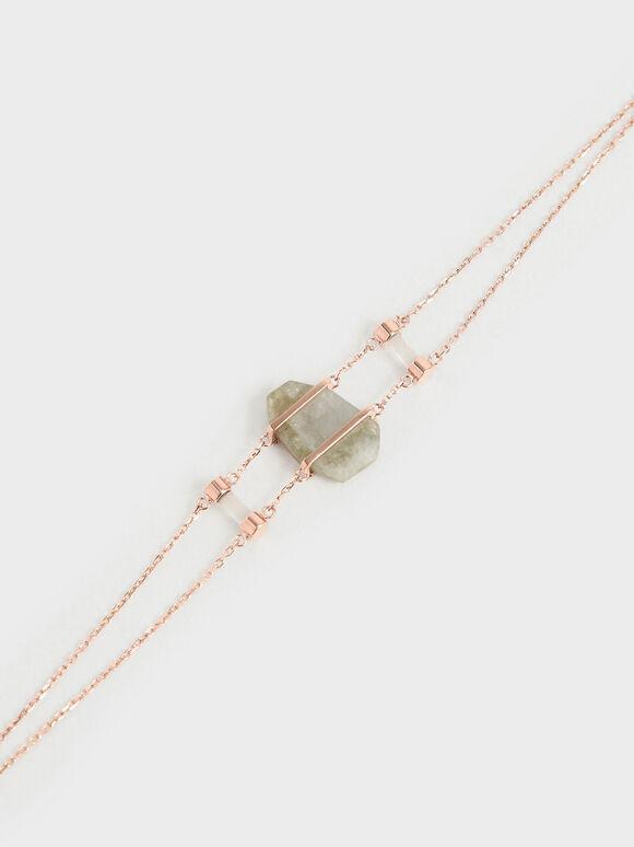 Labradorite Stone Double Layer Bracelet, Rose Gold, hi-res