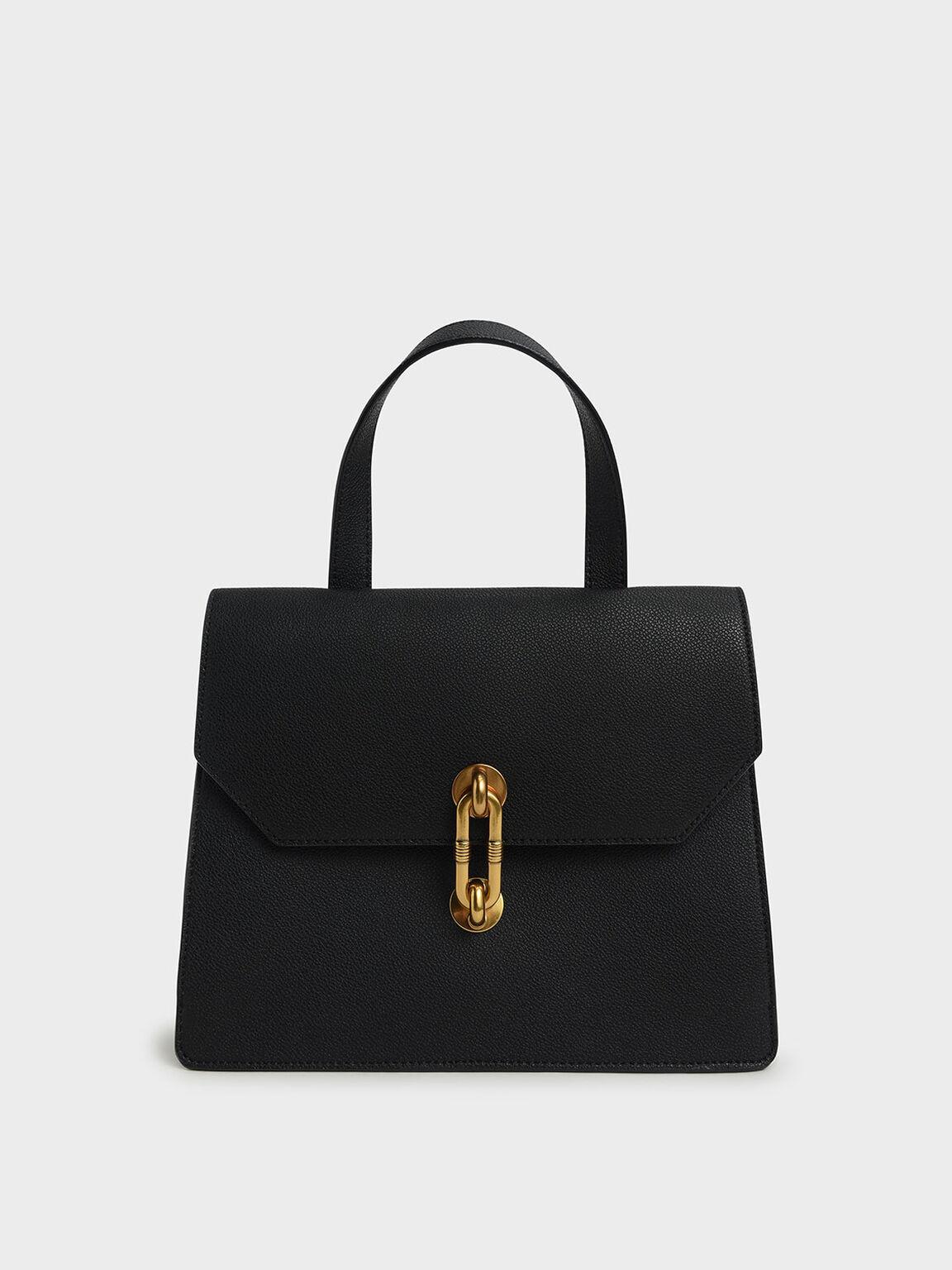 Metallic Accent Tote Bag, Black, hi-res