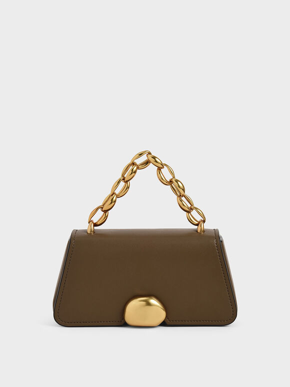 Metallic Chain Top Handle Bag, Khaki, hi-res