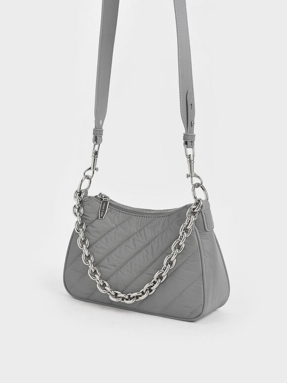 Panelled Chain Handle Crossbody Bag, Grey, hi-res