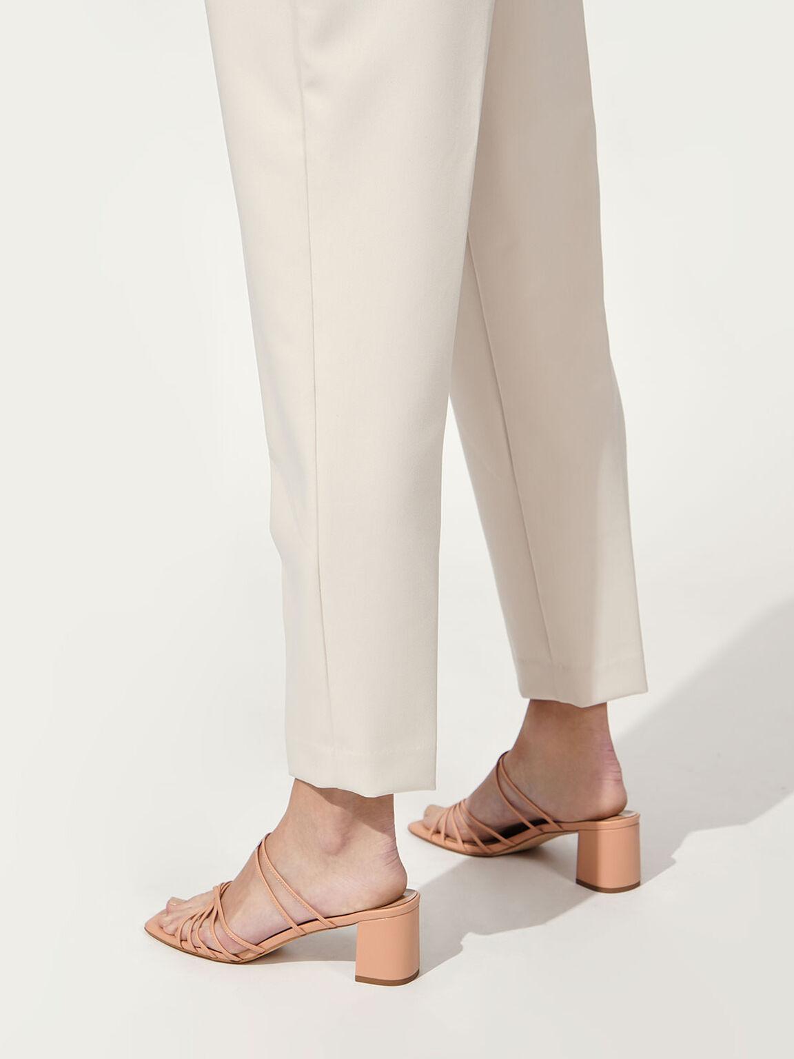 Strappy Square Toe Sandals, Nude, hi-res