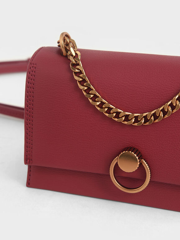 Ring Push-Lock Shoulder Bag, Rose, hi-res