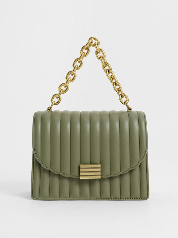 Panelled Chain Handle Bag, Olive, hi-res