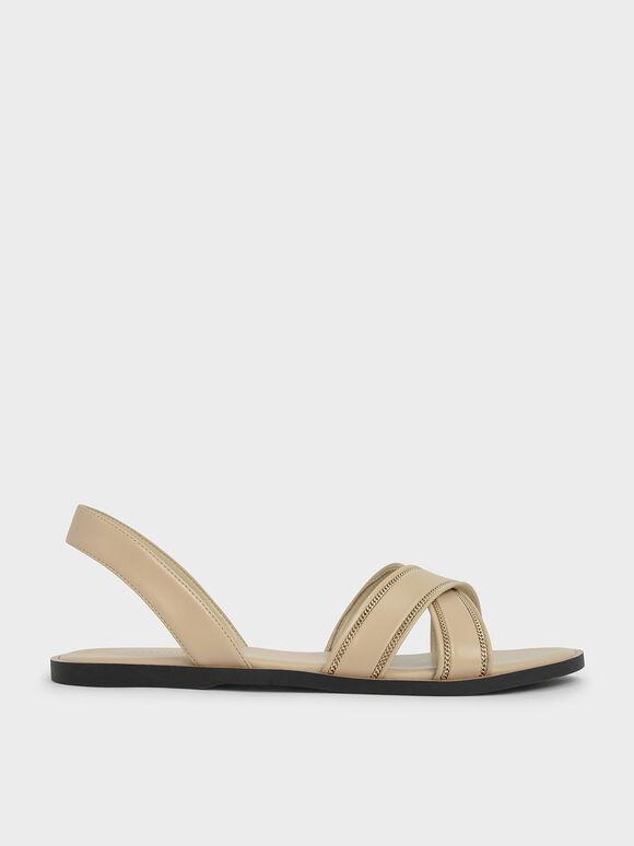 Embellished Slingback Sandals, Beige, hi-res