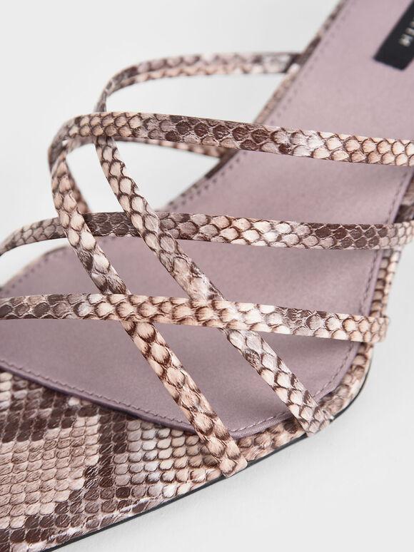 Snake Print Strappy Blade Heel Mules, Animal Print Natural, hi-res