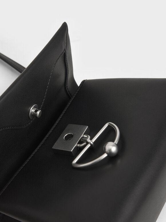 Geometric Chain Handle Bag, Black, hi-res