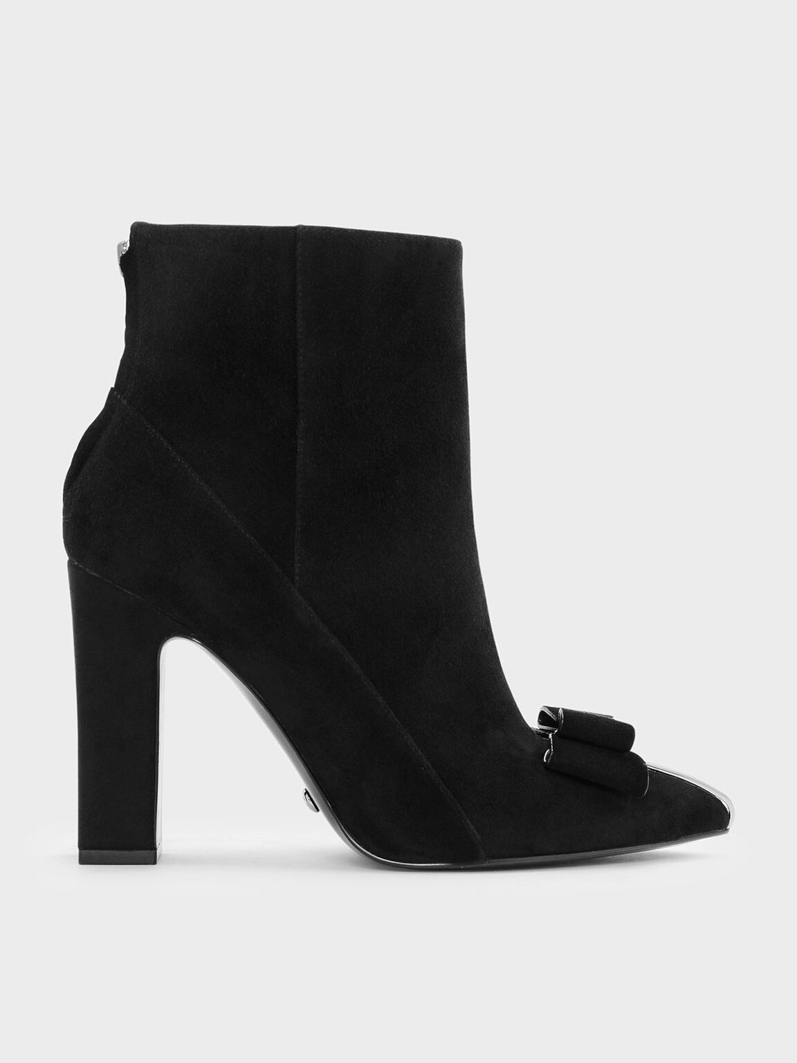 Bow Detail Suede Boots, Black, hi-res