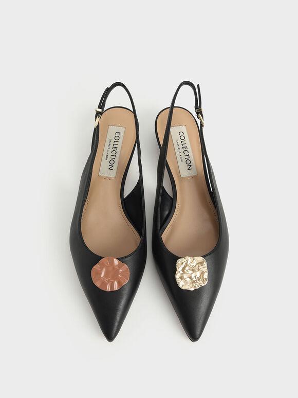 Leather Embellished Slingback Ballerinas, Black, hi-res