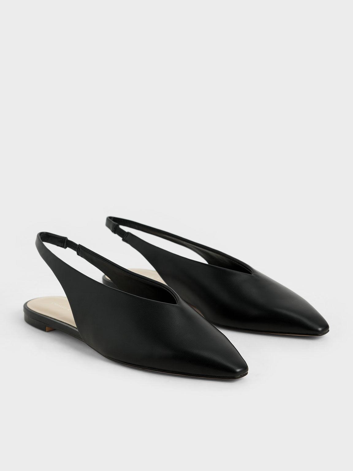Pointed Toe Slingback Ballerinas, Black, hi-res