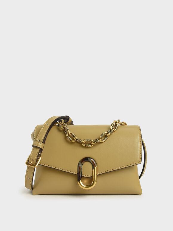 Chunky Chain Strap Trapeze Bag, Khaki, hi-res