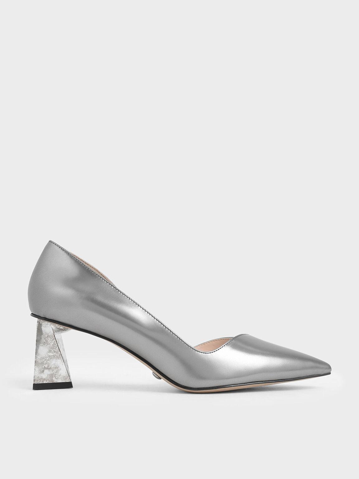 Metallic Leather Chrome Heel Pumps, Silver, hi-res