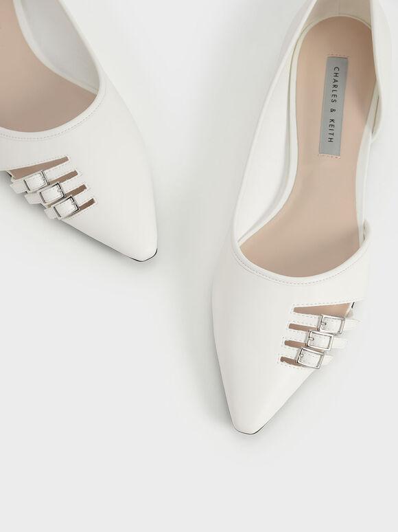 Half D'Orsay Cut-Out Ballet Pumps, White, hi-res