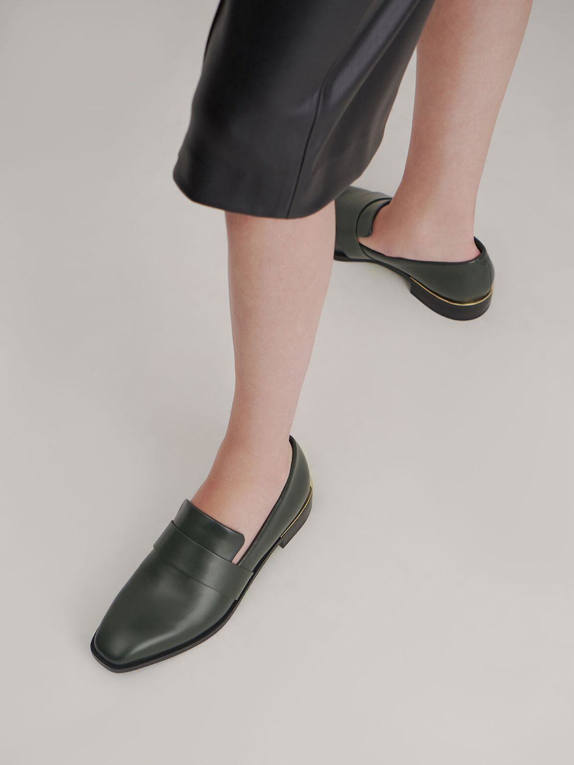 Square Toe Penny Loafers, Green, hi-res