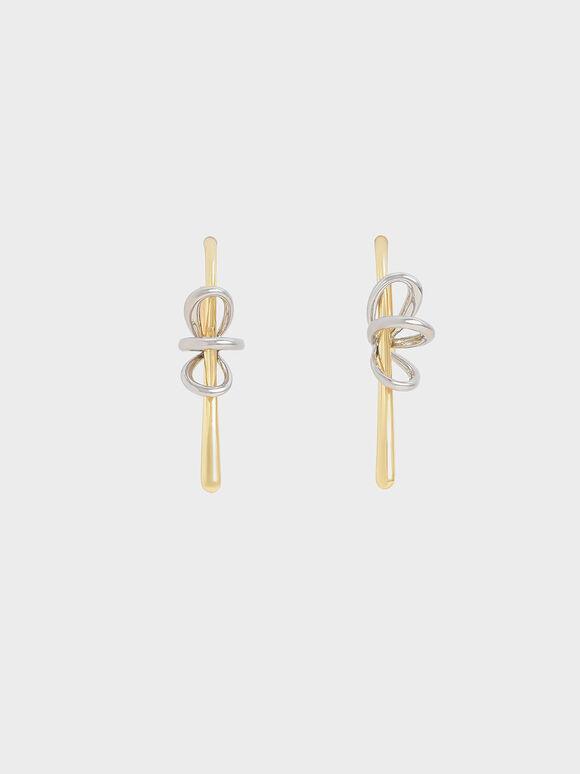 Two-Tone Sculptural Drop Earrings, Gold, hi-res
