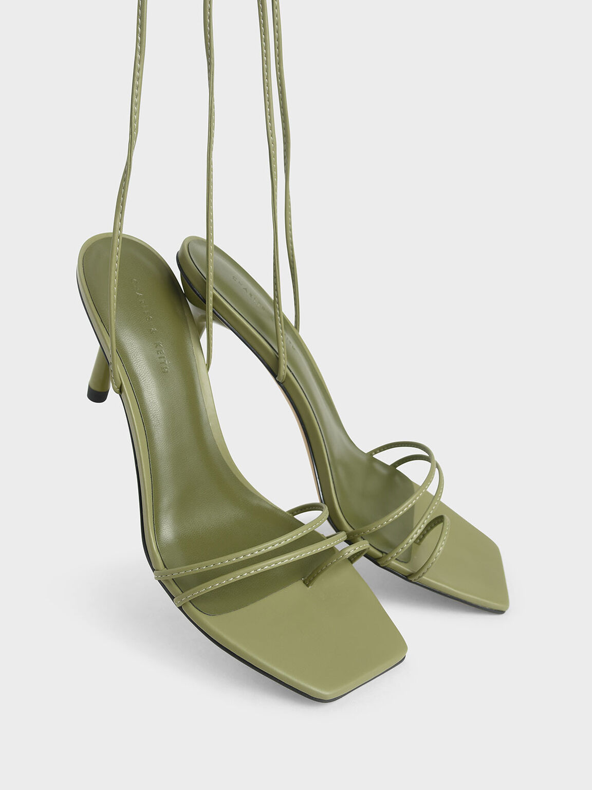 Strappy Tie Up Heels, Green, hi-res