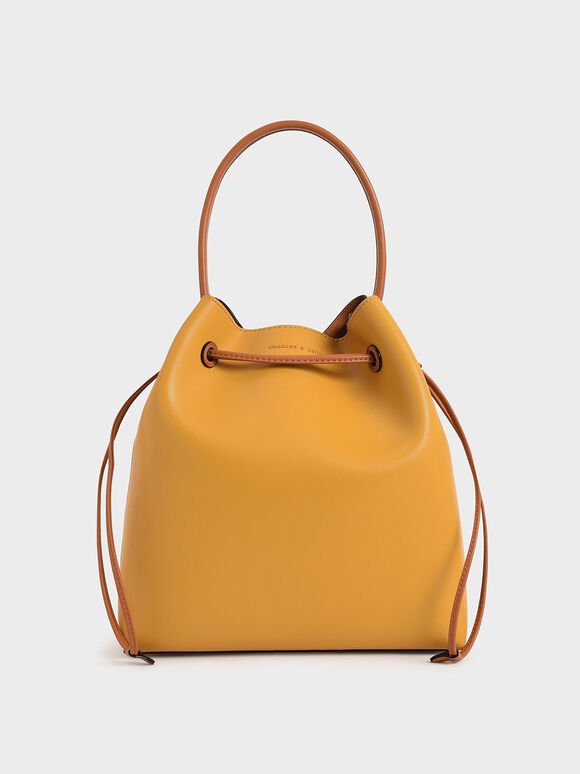 Drawstring Hobo Bag, Yellow, hi-res