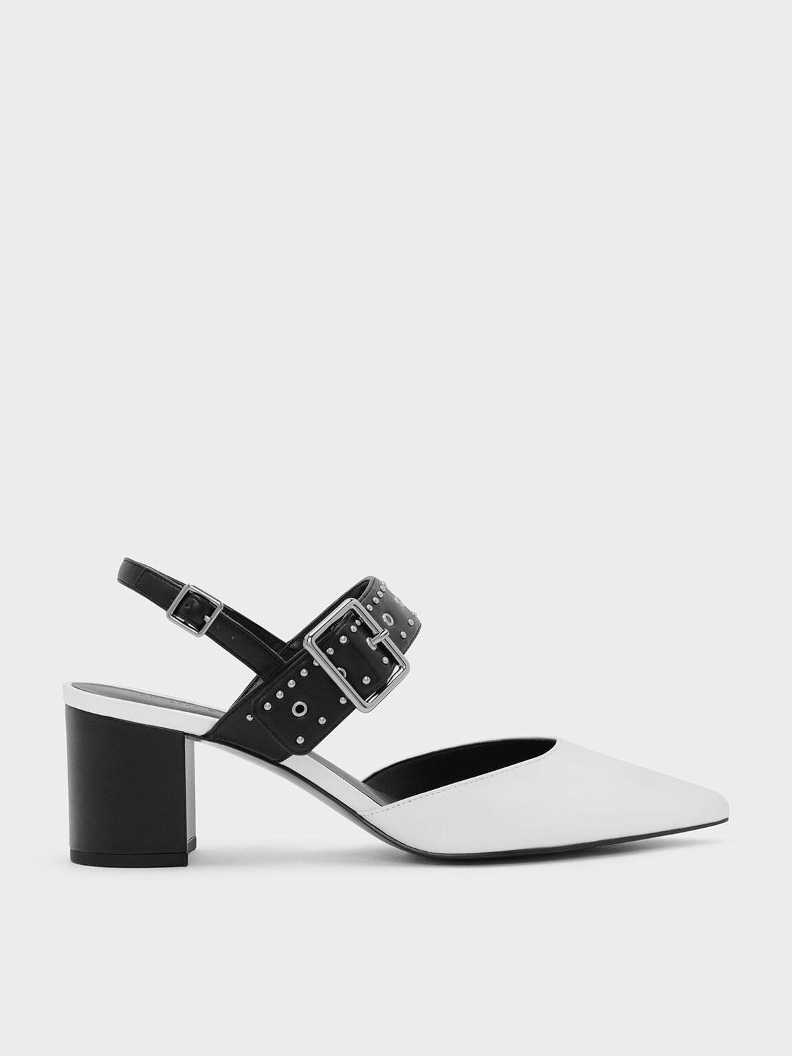 Studded Pointed Slingbacks, White, hi-res