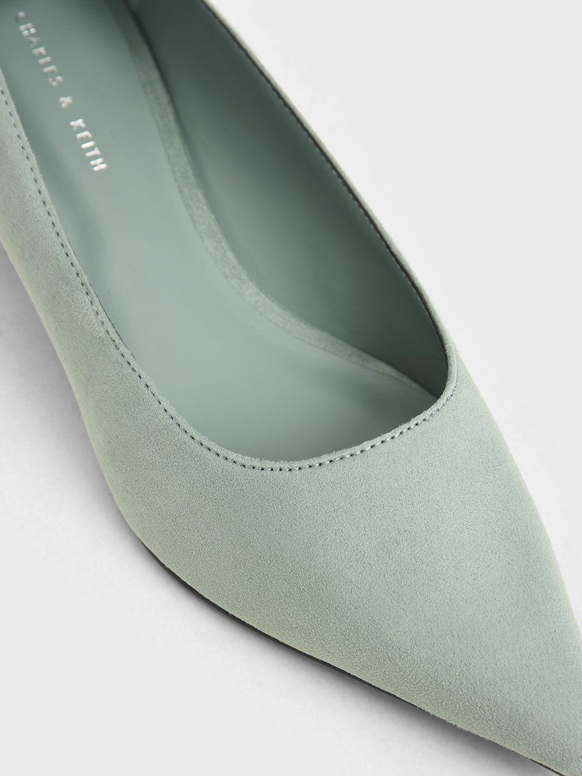 Textured Trapeze Heel Pumps, Mint Green, hi-res