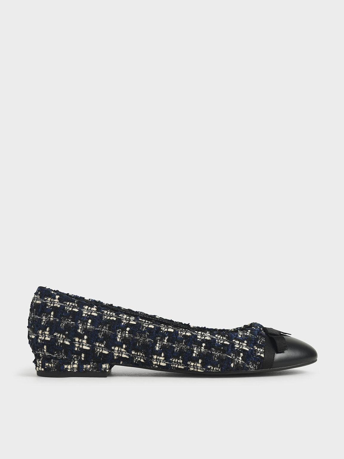 Tweed Ribbon Tie Ballet Pumps, Dark Blue, hi-res