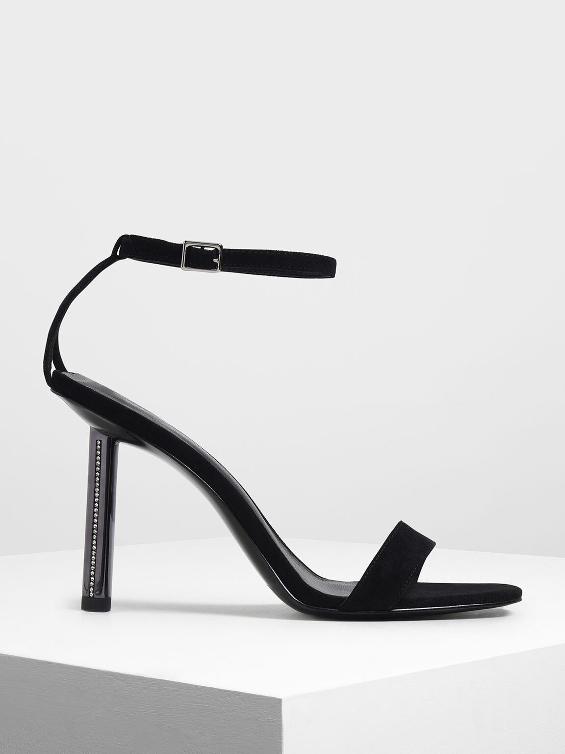 Gem Encrusted Blade Heel Sandals, Black, hi-res